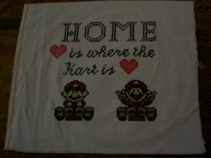 "Mario Kart cross stitch ""Home is where the Kart is"""