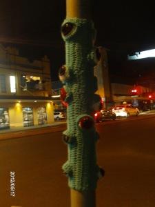 Amigurumi monster pole - yarn bombing project 2012