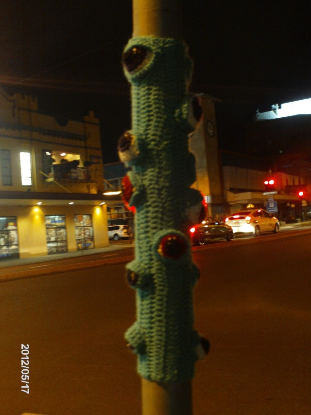 Amigurumi monster pole - yarn bombing project 2012