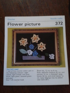 Crocheted flowers: Daffodil and pansies picture