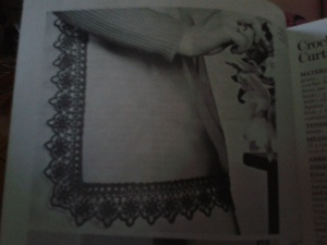 Vintage instructions for crocheted apron - finished piece.