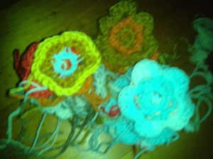 Crocheted flowers, that night's work.