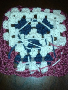 Skull pattern afghan square, back.