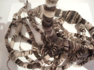 Gush, crocheted wool and creta fill, 2009