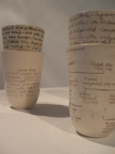 Ceramic slip cast cups, 2009