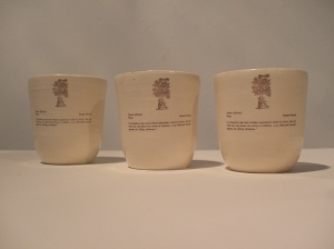 Ceramic slip cast and decaled cups, 2009