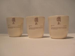 Ceramic slip cast and decaled cups, 2009