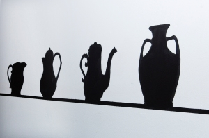 Slip cast silouette wall painting, 2009