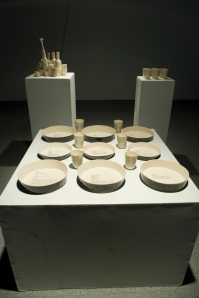 Whole assessment exhibition, fiest semester 2009. Front: Slip cast scraffitoed baking dishes, 2009