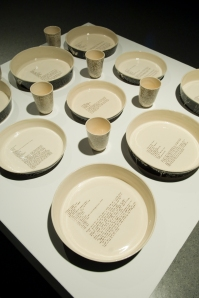 Slip cast scraffitoed baking dishes, 2009