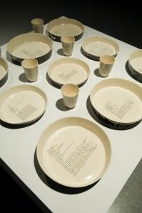 Slip cast scraffitoed baking dishes, 2009