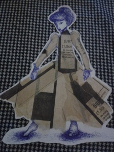 Completed biro collage dress pattern paper sketch