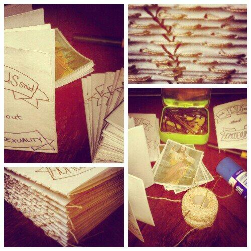 zine stack, binding copies of what jesus said