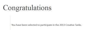 Great news 2013 Creative Tanks congrats
