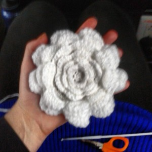 crocheted earmuff flower petals