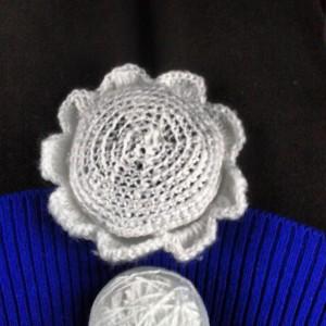 completed crochet wool earmuff