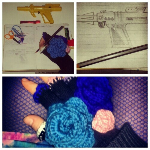 drawings and floral crochet gloves