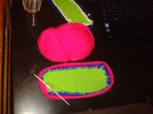 Neon pink first crocheted layer of colour