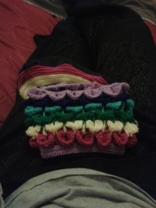 rainbow crocodile stitch crochet layer