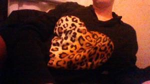 leopard print heart sewing