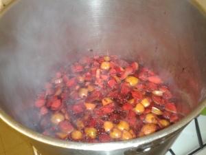 Apples cherry plums elderberry blackberry pulp