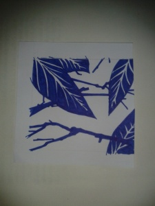 Blue ink foliage sketch