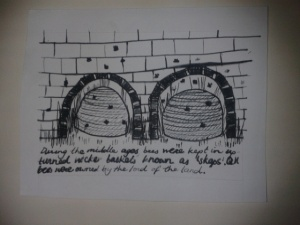 Beekeepers sketch of middle ages skeps