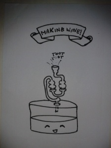 Wine toots ink drawing