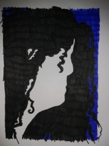 negative space profile silouette art noveau woman