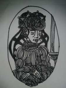 matron in victorian era dress black and white sketch