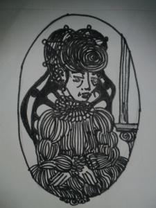 matron in victorian era dress black and white sketch