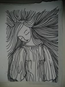 woman art noveau draped dress