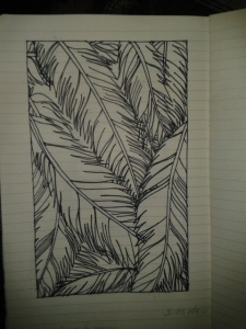 moleskine handdrawn feathers black and white