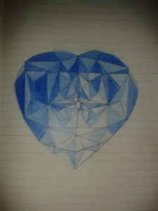heart cut blue diamond shading exercise