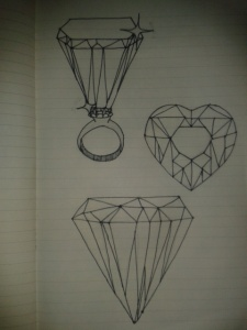 sketching different gems diamond ring