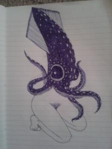 sensual reverse mermaid pin up squid