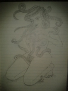 pin up pencil sketch tentacle woman