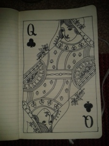 queen of spades card drawing ink