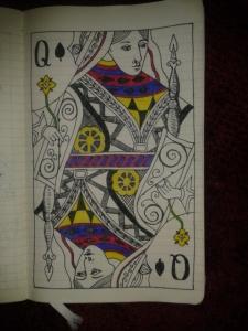 adrawingaday cartomancy queen of spades ink