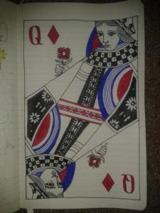 queen of diamonds self portrait sketch
