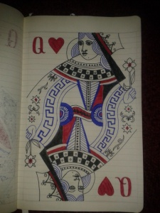 adrawingaday queen of hearts self portrait