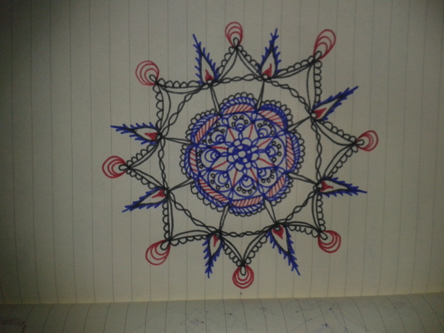 red blue black ink adrawingaday moleskine mandala