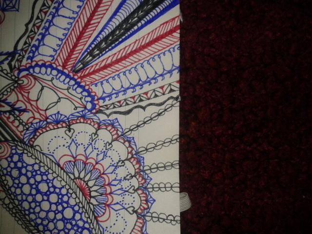 blue red black ink fine line mandala excerpt