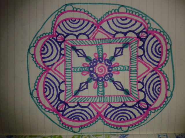 teal pink purple ink mandala moleskine