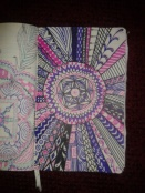 pink purple black ink zentangle pattern mandala