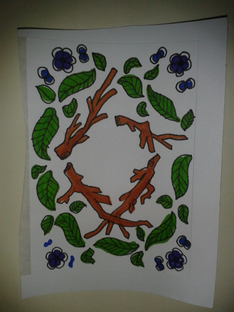 sticker colourful nature mandala sketch branches leaves