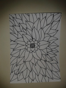 sunflower leaves ink drawing sticker project