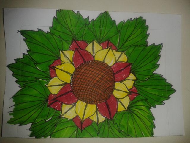 drawing task sunflower leaf sticker sketchaday
