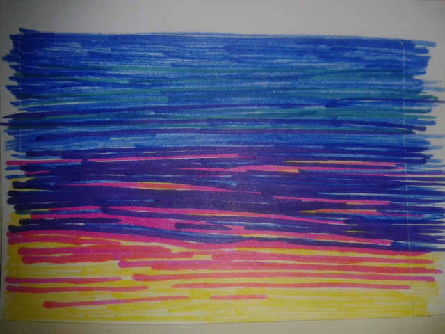 drawingaday sunset colourful ink sticker drawing