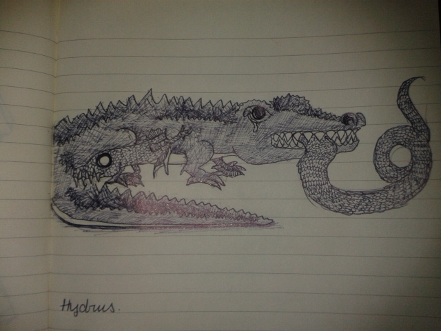 hydrus medieval bestiary sketch adrawingaday art project